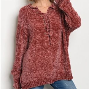 Sweaters - Red chenille sweater